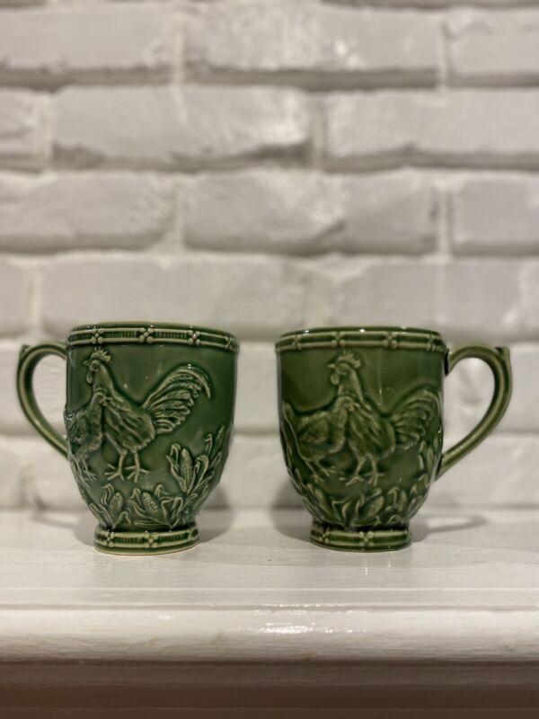 Bordallo Pinheiro 2 Rooster Green Mugs
