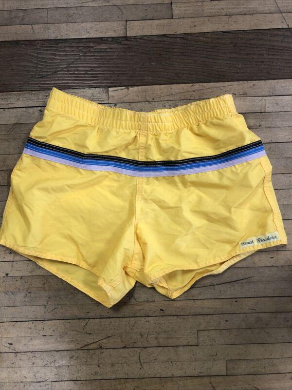 Vintage 70s Beach Breakers Mens Nylon Swim Suit Rare Usa Made Swim Trunks Sze 34