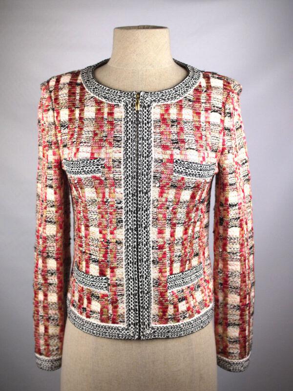 EUC ST JOHN Sz 2 Black Pink Gold Plaid Multi-Color Tweed Shimmer Jacket Blazer