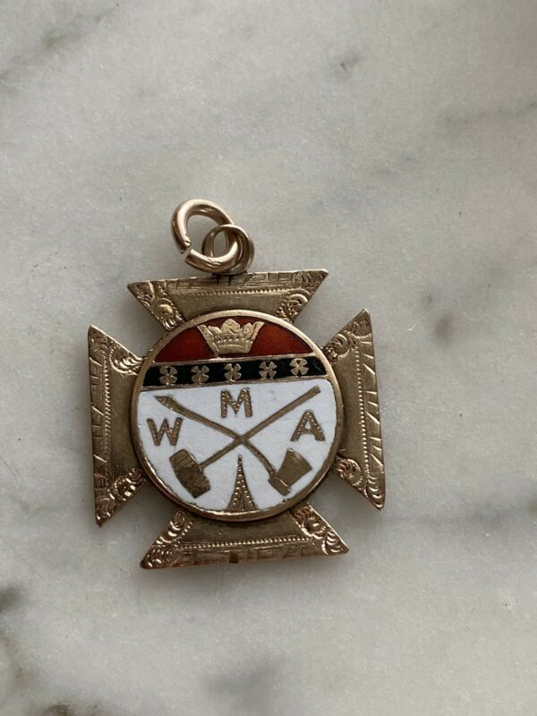 Antique Gold Filled WMA Maltese Cross Fob Pendant Charm