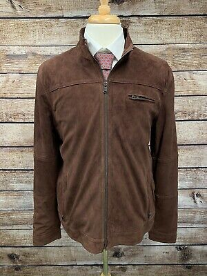 Neiman Marcus Brown Suede Leather Jacket Size Large