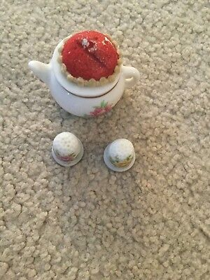 Vintage Tea Cup Pin Cushion and 2 Porcelain Thimbles Made in Japan Flower Gold T