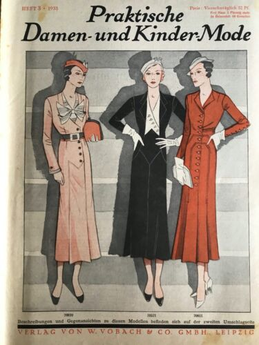1933 German magazine  & its SEWING patterns - DIGITAL FORMAT -heft 3 -