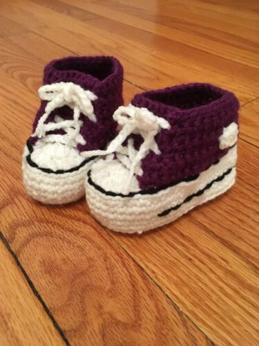 Purple Crochet Baby Converse Sneakers Shoes