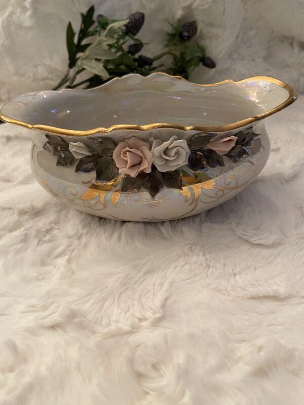 russian porcelain Alan Kislovodsk  dish antique hand work gold rim Ivory Color