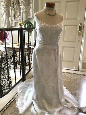 Mary 'S Destino Boda Vestido de Novia Encaje Blanco/Plata Bordado 14 Nuevo