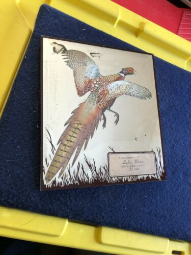 Vintage Lepley Motors Tulelake California pheasant advertising mirror