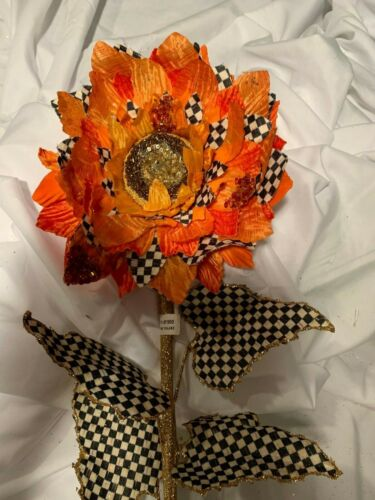 Mackenzie Childs Retired Courtly Check Large Sun flower Fall     NEW