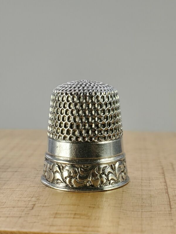 Vtg. Antique Sterling Silver Thimble Stern Bros. Size 9