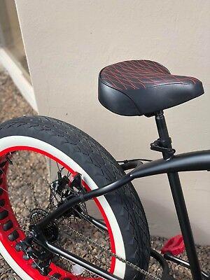 Red Beach Cruiser - Custom Beach Cruiser Comfortable Bicycle Seat- RED STITCHING
