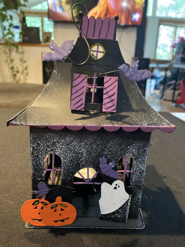 Spooky Halloween Haunted House Lantern Light Candle Metal Decor
