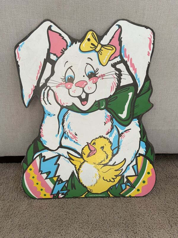 Vintage 1990 True to Nature Inc Wood Easter Bunny Hatching Egg Chick Large Sign