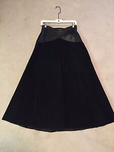 Full Length Suede and Leather Skirt (Black)