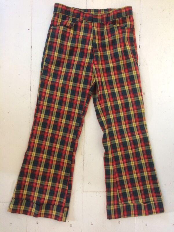 Vintage Plaid Jeans Pants Mens cuffed wide legs Disco Funk Golf 31 x 29
