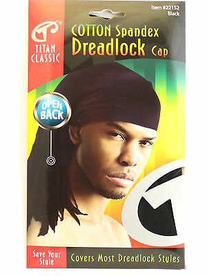TITAN CLASSIC OPEN BACK COTTON SPANDEX DREADLOCK CAP - BLACK  (22152)](Dreadlock Hat)