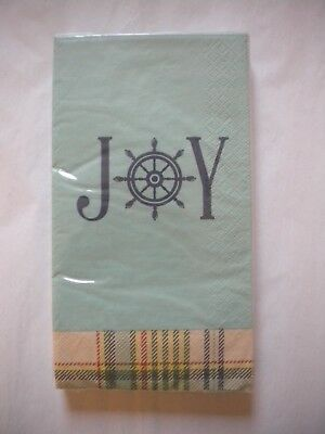 C.R. Gibson GUEST Paper Towels Napkins Nautical JOY Coastal Plaid Holiday Season