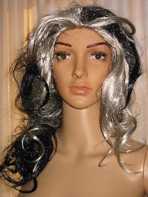 Lange Schwarze Haare, Perücke Halloween (Perücke Hexe Vampir  Zauberer Halloween Oma, Langhaar schwarz/grau gewellt dicht)