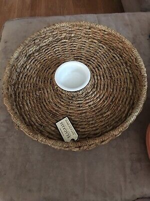 William Sonoma Large Woven Chip and Dip Tray Seagrass Collection- New William Sonoma Collection