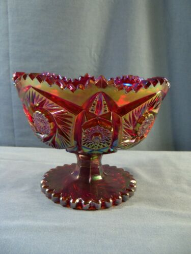 L.E. Smith Red Carnival Glass Compote Footed Bowl w/ Pinwheel Hobstar Design