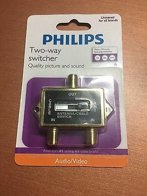 Philips 2-Way Switcher/Splitter Cable Antenna Game Satellite Coaxial A/B Switch