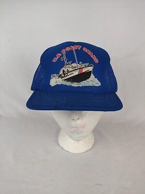 Vintage US Coast Guard Blue & White Mesh Trucker Snapback Hat Guard White Hat