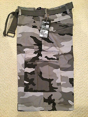 NWT Men's Regal Wear Light Gray Camouflage Camo Belted Cargo Shorts ALL BIG (Wear Camo Shorts)