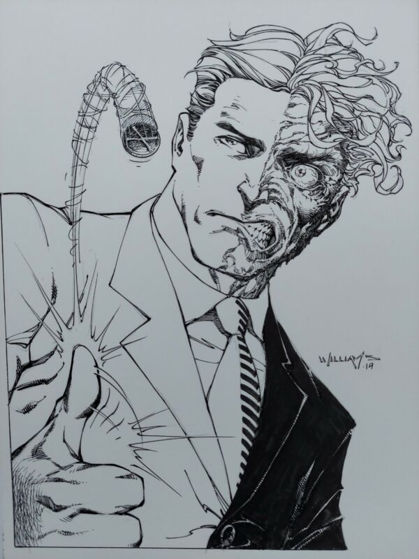 Scott Williams Two Face 2 Face Original Art Sketch 9x12 Jim Lee