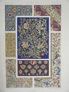 chromolithographie 19 me decoration enluminure de manuscrits moyen age ebay. Black Bedroom Furniture Sets. Home Design Ideas