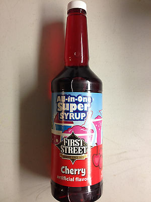 1 Qt. All-in-one Snow Cone Syrup - Cherry - 4 Pack