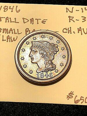 1846 large cent Tall Date N-14 R-3 Choice Au Sm Planchet Flaw At 12 Oclock Nice