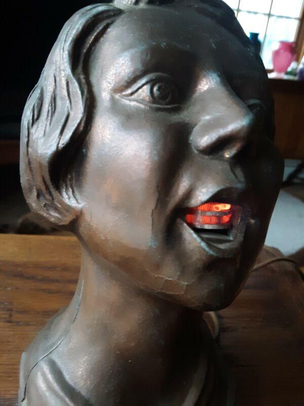 1930S ART DECO WOMAN HEAD BUST TABLE CIGARETTE CIGAR LIGHTER