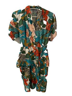 80s Dresses | Casual to Party Dresses Vintage 1980s Carol Anderson Jungle Power Peplum Dress Sz 6 New Wave $33.70 AT vintagedancer.com
