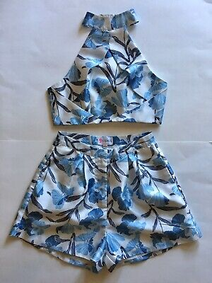 L'atiste By Amy Crop/Halter Light Blue Short Set Fully Lined Worn Once!! -