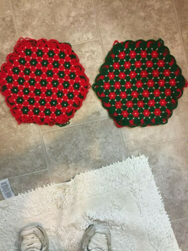 2 Christmas Yarn Tied Table- End Table Center Pieces