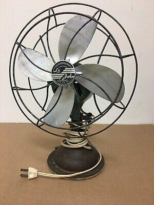 "ANTIQUE VINTAGE Le John Electric Fan. 10"". Beautiful Patina! Works!"