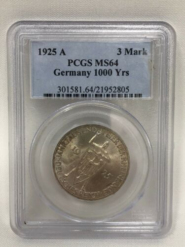 1925 A Germany Silver 3 Mark Rhineland 1000 Years PCGS MS64