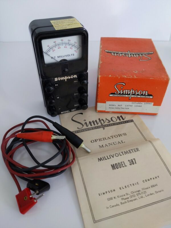 SIMPSON Model 387 Millivoltmeter (meter, leads, orig. manual, orig. box)