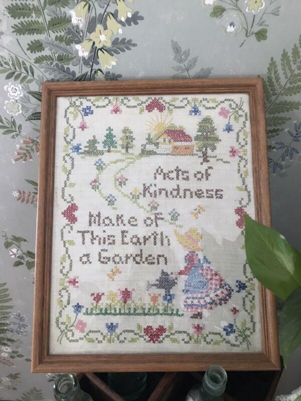 Vintage Cross Stitch Sampler Acts Of Kindness Completed Framed  Make A Garden