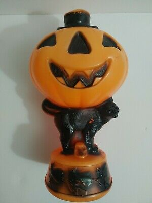 "Vintage Empire 14"" Blow Mold Jack O Lantern Pumpkin Black Cat Witches NO LIGHT"