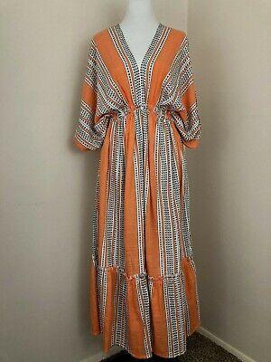 lemlem Caftan Dress Size Small Orange Plunge Neck Elastic Empire Waist Cotton