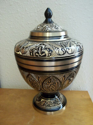 Small Black & Gold Engraved Solid Brass Compote Urn ~ for up to 80 lbs.