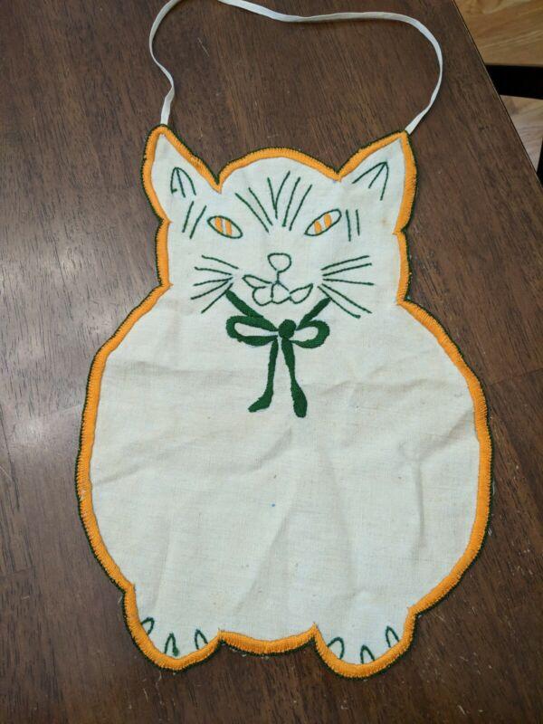 Vintage BABY BIB Burp Cloth Embroidered Cat Design
