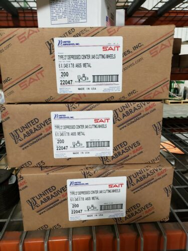 50 Pack, Sait-United Abrasives 22047 6 X .045 X 7/8 Cutting Wheels Depressed  - $75.00