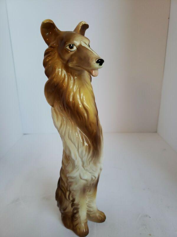 Collie Dog Figurine Sitting Tri-Color Gloss Ceramic Porcelain Vintage RARE!