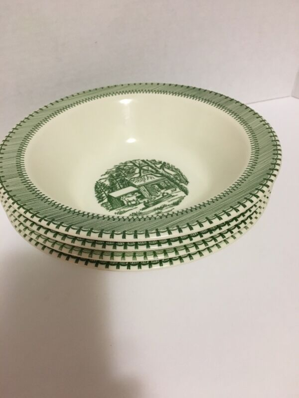 """Edwin Knowles Country Life Green 9"""" Serving Bowl Currier And Ives Cabin Barnyard"""