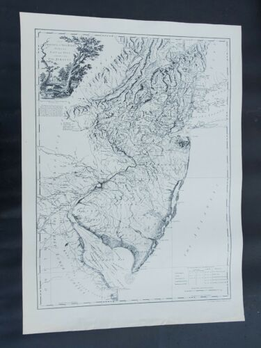 1778 Map POSTER Province of New Jersey Divided into East West ~ Black & White