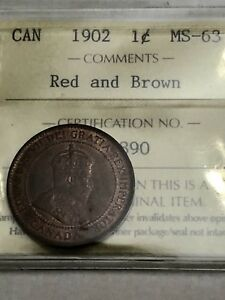 1902 Canadian Large Penny Coin - ICCS GRADE MS63