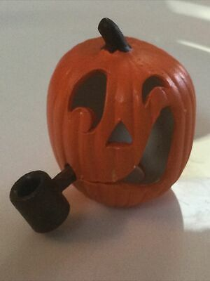 Dollhouse Miniature Ceramic Halloween JACK-O-LANTERN With Pipe Great Detail