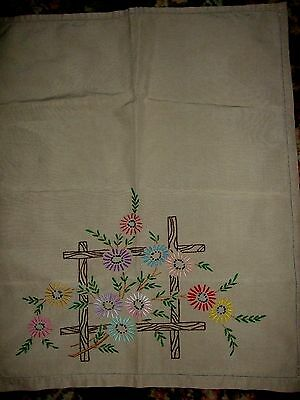 VINTAGE IRISH LINEN  CHAIR BACKS & SETTEE  3 PIECE   HAND EMBROIDERED  BEIGE