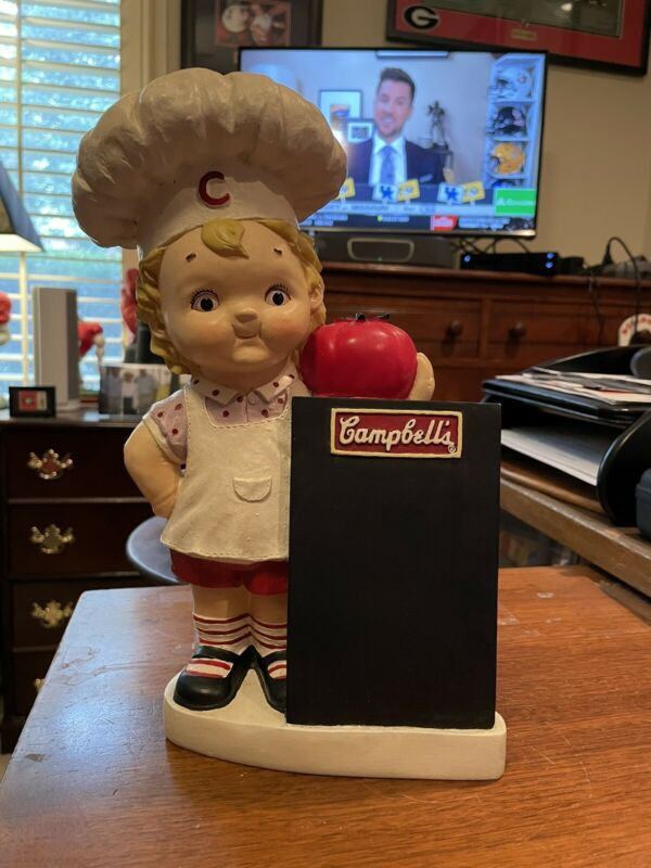 """Vintage CAMPBELL SOUP GIRL COOK HOLDNG CHALKBOARD  """"BANK""""   RARE  COLLECTIBLE"""